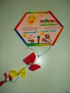 """ΟΙ ΧΑΡΤΑΕΤΟΙ ΜΑΣ    Φτιάξαμε κι εμείς τους χαρταετούς μας, αφού ζωγραφίσαμε τους στίχους του Ελύτη από το έργο του """"Ο ήλιος ο Ηλιάτορας""""  ... Kites Craft, Pre School, School Projects, Handicraft, Seasons, Blog, Crafts, Painting, Masks"""