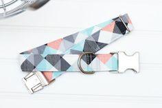 Mint Coral & Gray Geometric Dog Collar Male Dog by ZaleyDesigns