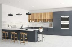 Modern kitchen with white polished concrete floors gray cabinets white quartz countertops Gray And White Kitchen, Grey And White, Modern Kitchen Design, Kitchen Designs, Kitchen Corner, Grey Cabinets, Polished Concrete, Quartz Countertops, Concrete Floors