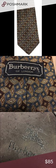 Burberry Men's Tie- wine/brown/blue/green on tan Beautiful wine/brown, blue-green, on a tan background 100% silk Hand sewn in USA Burberry Accessories Ties