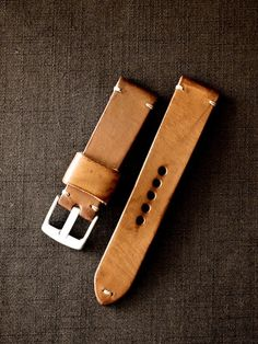 """Luther"" saddle tan tapered handmade leather watch strap. Made in Australia."