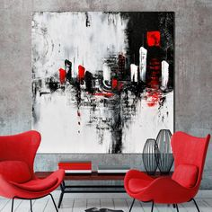 red and grey wall art large urban abstract painting black and white modern painting wall art canvas art painting red and gold canvas wall art Grey Wall Art, Large Wall Art, Abstract Wall Art, Canvas Wall Art, Gold Canvas, Modern Art Paintings, Abstract Paintings, Indian Paintings, Oil Paintings