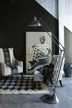 Vintage Interior Design Loving the chairs and fabric hauntingly beautiful - Explore black and white home decor at Weylandts, Southern Africa's leading furniture and decor retailer. African Interior Design, Modern Interior Design, Interior Styling, Interior Decorating, Ethno Design, Bedroom Minimalist, African Home Decor, Deco Boheme, White Home Decor