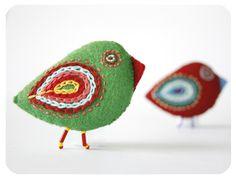 felt accesories red & green bird pin. $18.00, via Etsy.