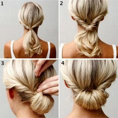 the easy chignon! I find this one easier to make really nice and much less hassle on medium length hair than long hair. Updo Hairstyles Tutorials, Girl Hairstyles, Wedding Hairstyles, Simple Hairstyles, Simple Hairdos, Beautiful Hairstyles, Latest Hairstyles, Braid Hairstyles, Cute School Hairstyles