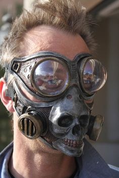 Steampunk Froggle Goggle and Skull gas mask combo set for sale by Gryphons Egg at MoreThanHorror.com