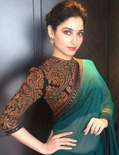 Today outfit trends will give you ideas about tips on wearing saree blouse and latest styles and patterns in it. Dont forget to check along - Latest Saree Blouse Designs - 17 New Blouse Designs 2018 Full Sleeves Blouse Designs, Saree Blouse Designs, Latest Blouse Designs, Blouse Designs High Neck, Indian Blouse, Indian Sarees, Indian Attire, Indian Wear, Indian Style