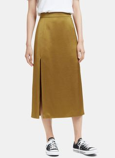 Lanvin Mid-Length Slit Satin Skirt | LN-CC