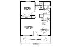 Cabin Style House Plan - 1 Beds 1.00 Baths 598 Sq/Ft Plan #126-149 Floor Plan - Main Floor Plan - Houseplans.com