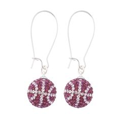 Handcrafted Grape-Crystal (Purple-White) Basketball Earrings with Silver Wire, Item E-BB12, Price:  $35.99, © GameDay Fusion