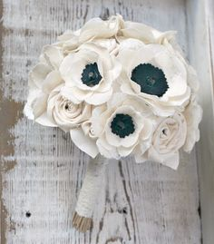 Signature Anemone Bride's Bouquet - Romantic Ivory Fabric Flower Heirloom Bride's Bouquet - Anemone Flowers, Ivory, Black, Wedding, Sunnybee by TheSunnyBee on Etsy https://www.etsy.com/listing/154217553/signature-anemone-brides-bouquet