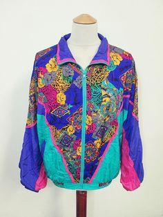 Vintage USA Psychedelic Pattern Indie Shellsuit Tracksuit Top Jacket Large