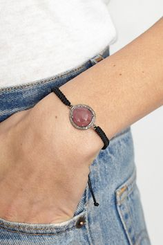 BLACK/ PINK SAPPHIRE CORD BRACELET BY JEMMA SANDS | SHOPHEIST.COM
