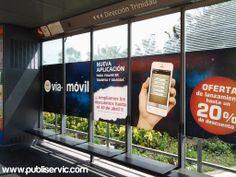 Rotulación Marquesina de Vía - Móvil. ¿te interesa? Contacta con nosotros. #rotulacion #vehiculo #tranvia #publiservic #marquesina Trinidad, Advertising