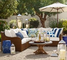 Need patio inspiration? Shop Pottery Barn for outdoor and patio furniture and decor. Find outdoor dining tables, sofas, sectionals and more and create an inviting outdoor space. Outdoor Rooms, Outdoor Living, Outdoor Furniture Sets, Outdoor Decor, Indoor Outdoor, Lounge Furniture, Outdoor Lounge, Furniture Design, Adirondack Furniture