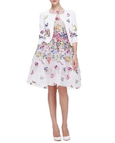 -5KAG Oscar de la Renta Floral Embroidered 3/4-Sleeve Cardigan & English Garden Embroidered Organza Dress