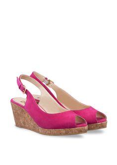 Hot pink suede wedge heel sandals at DUO