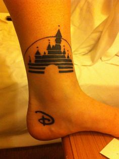 """Disney tattoo! I don't like the idea of the castle right there but the """"D"""" is so cute !"""