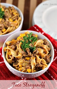Taco Stroganoff ~ Add a kick to your favorite stroganoff loaded with Corn, Taco Meat and Pasta! - Looks yummy