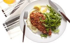 Pretzel-Crusted Chicken Cutlets with Cauliflower Purée and Arugula  / Andrew Purcell, food styling by Rhoda Boone