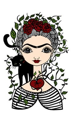 Gato and Frida Cartoon Drawings, Cartoon Art, Art Drawings, Frida Kahlo Cartoon, Jace, Frida Art, Street Art, Mexican Folk Art, Kids Prints