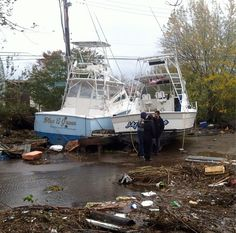 Superstorm Sandy: 33 Dead and an Estimated 8 Million Without Power. Story: http://abcn.ws/XSunr2     Frank Pomponio took this photo of boats washed inland on Staten Island, NY — in Manhattan.