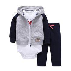 Sets 1 hooded zipper coat + pants + romper fashion cotton 2017 Baby Boy girl Clotheschildren boys cute Clothing free shipping