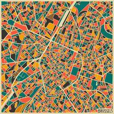 Brussels Map Art Print