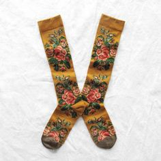 Bonne Maison knee-highs made in France Yellow Flowers
