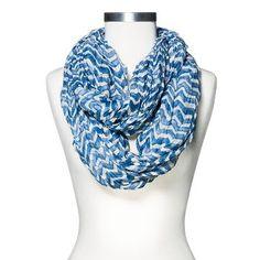 Women's Chevron Print Crinkle Infinity Scarf Blue - Mossimo Supply Co.™