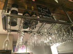 Metal Ornamental Glass wine Rack. bottle storage. ceiling suspending.glass shelf…