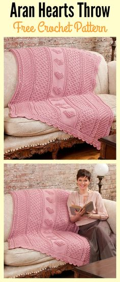 Crochet Afghan Patterns Aran Hearts Throw Free Crochet Pattern - This aran hearts crocheted throw will make your house look more homey. With this Aran Hearts Throw Free Crochet Pattern, you can make your own. Crochet Gifts, Crochet Baby, Free Crochet, Crochet Hearts, Crochet Owls, Crochet Mandala, Crochet Animals, Double Crochet, Easy Crochet