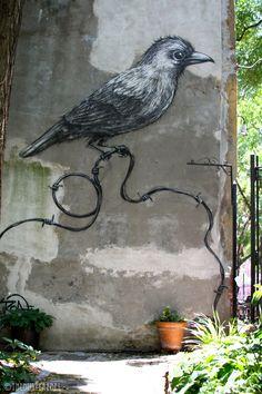 Crows Ravens:  #Raven ~ ROA - Bird on East 2nd East Village, New York, New York, USA.