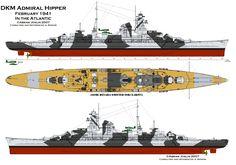 KSM Admiral Hipper - Incrociatore pesante, unico della sua classe - Dislocamento a vuoto: 14.247 t a pieno carico: 18.208 Lunghezza 205.9 m Larghezza 21.3 m Pescaggio 7.9 m Propulsione 12 caldaie La Mont con tre turbine a vapore Blohm und Voss a ingranaggi su 3 assi (132000 HP) Velocità 32.5 nodi Autonomia 6500 miglia a 17nodi Equipaggio 1600