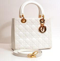Christian Dior Handbag  (White, Quilted Patent Leather, Shoulder Bag Tote, Gold Logo, Pre-Owned Handbags)