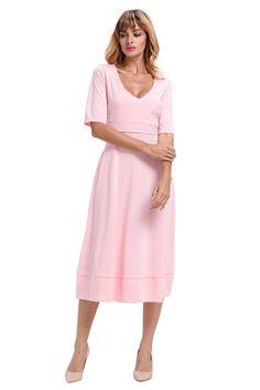 90bc06b3315b Pink Half Sleeve V Neck High Waist Flared Dress