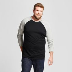 Men's Big & Tall Standard Fit Long Sleeve Baseball T-Shirt - Goodfellow & Co Gray 3XBT