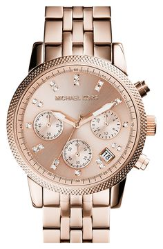 Swarovski crystals + rose gold watch. Need this!