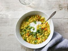 Brown rice and lentils pack a serious nutritional punch and the addition of veggies, spices, ginger and cilantro make this healthy recipe one that the whole family will happily chow down on.
