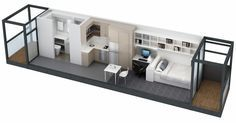 This site's formatting is a little weird but it's the only place I found the Idea of making three shipping containers into two apartments - see the floor plan
