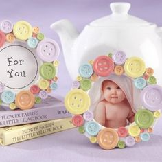 Cute as a Button Place Frame Baby Shower Favor