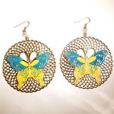 Filigree Butterfly Earrings (3.5in) Blue and Green