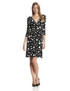 Maggy London Women's Long Sleeve Dot Wrap Dress, Black/White, 6 Maggy London,http://www.amazon.com/dp/B00DKN2LHO/ref=cm_sw_r_pi_dp_Yj4btb131XZ9N142