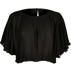River Island Black pleated crop top ($60) ❤ liked on Polyvore featuring tops, black, blouses, women, river island, ruffle crop top, flounce tops, pleated top and river island top