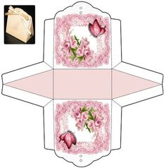 Pretty small gift box with pink roses and butterflies. Diy Gift Box, Diy Box, Gift Boxes, Favor Boxes, Diy Paper, Paper Crafts, Paper Art, Paper Box Template, Box Templates