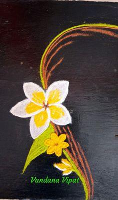 Rangoli by vandana Vipat Rangoli Designs Latest, Colorful Rangoli Designs, Rangoli Designs Diwali, Beautiful Rangoli Designs, Simple Flower Rangoli, Small Rangoli, Easy Rangoli, Free Hand Rangoli, Decoration For Ganpati