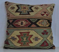 "24"" Wool Kilim Kelim Rug Decorative Throw Pillow Case Cushion Cover 5398"