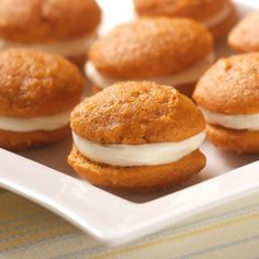 Pumpkin Whoopie Pies - It's yummy cream cheese filling between two moist pumpkin cookies! This Mini Pumpkin Whoopie Pie recipe is irresistible and fun to make with your kids in the kitchen. Libby's Pumpkin, Pumpkin Recipes, Pie Recipes, Pumpkin Spice, Baking Recipes, Cookie Recipes, Dessert Recipes, Spiced Pumpkin, Pumpkin Bars