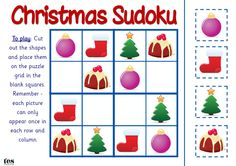 Sudoku style activities that use Christmas images. Very simple layout: 12 images are in place and pupils have to work out where the remaining 4 need to go. Visual and fun. Christmas Math, Christmas Activities For Kids, Autumn Activities, Christmas Crafts, Xmas, Chinese Crafts, Math Manipulatives, Preschool Education, Math Centers