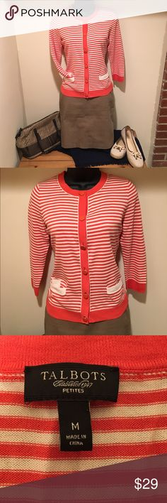 Talbots knit sweater jacket NWOT Talbots's knit jacket in vibrant orange and cream pattern, functional front pockets and beautiful buttons. Pair with slacks or a skirt for your next lunch date. Coach purse in separate listing. Smoke-free home. Bundle for additional savings. Talbots Sweaters Cardigans